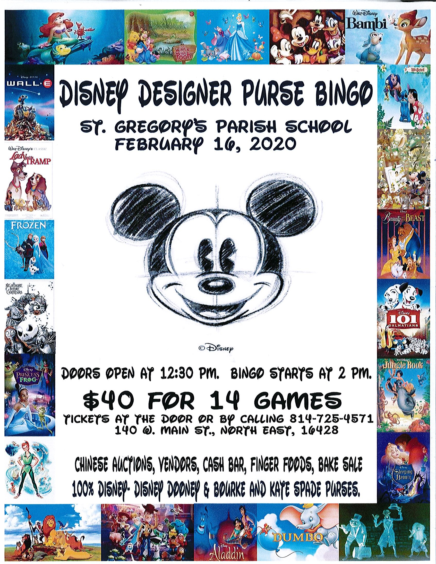 202 Disney Designer Purse Bingo